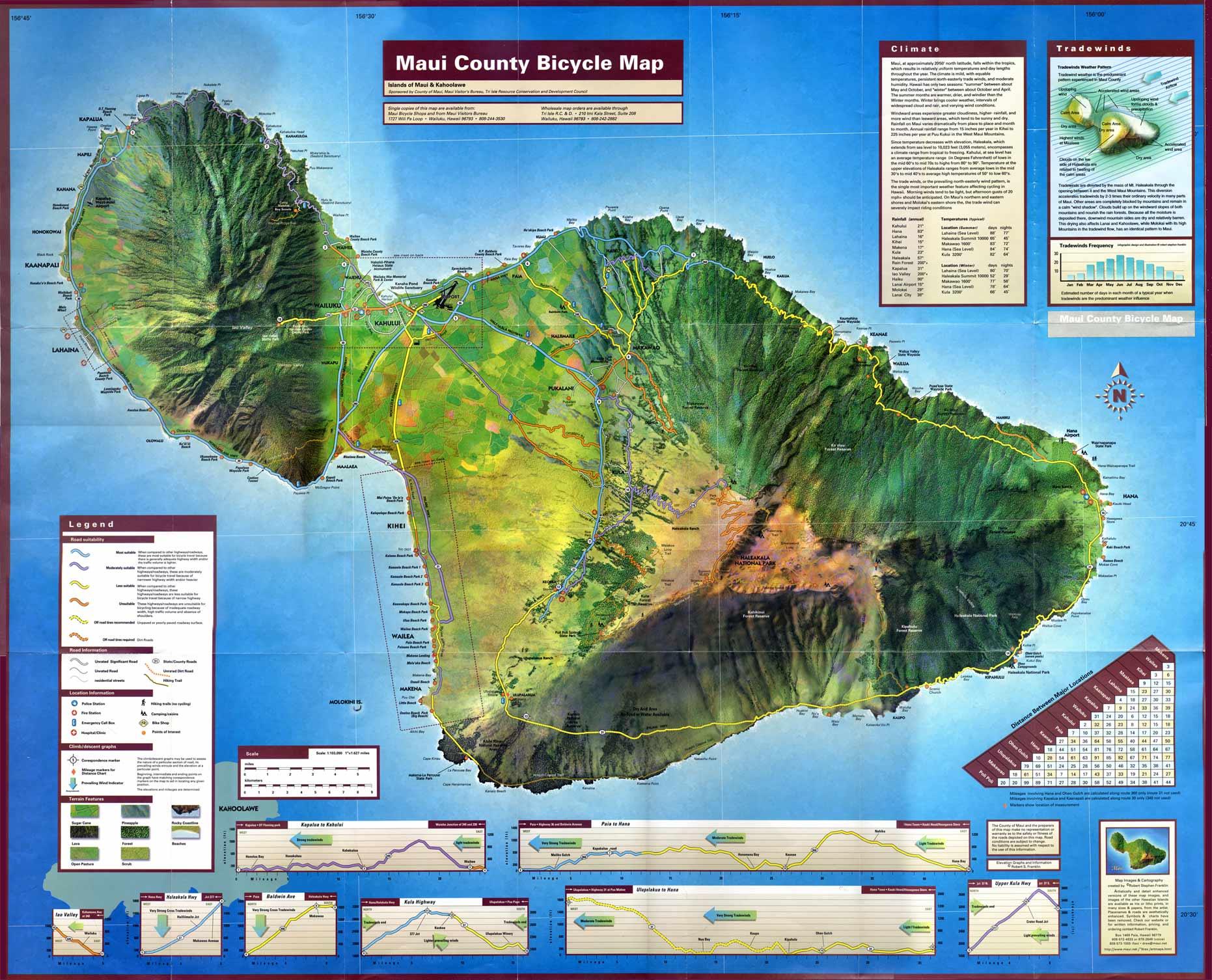 photo regarding Printable Maps of Maui named Maui Motorcycle Map - Maui Bicycling League